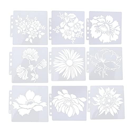 Plantilla de plantillas de flores de 9 piezas, plantillas reutilizables, plantillas de capas en aerosol para hacer tarjetas de bricolaje, decoración de álbumes de recortes