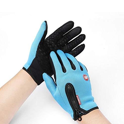 Motorradhandschuhe Outdoor Winddicht Kältebeständig Unisex Fahrradhandschuhe Für Touchscreen Kaltwetter Slip Handschuhe MTB Handschuhe - Lake Blue, S,