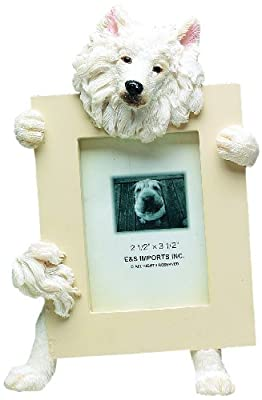 Samoyed Picture Frame Holds Your Favorite 2.5 by 3.5 Inch Photo, Hand Painted Realistic Looking Samoyed Stands 6 Inches Tall Holding Beautifully Crafted Frame, Unique and Special Samoyed Gifts for Samoyed Owners from E&S Imports, Inc