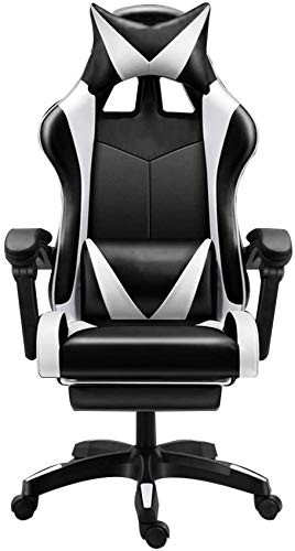 WGFGXQ Computer Chair Massage Computer Gaming Chair with Footrest Reclining Ergonomic Racing Office Chair Height Adjustable Racing Style Chair with Headrest and Massage Lumbar Support (Co