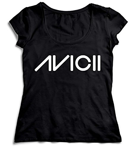 Avicii Logo Black Damen T-Shirt Black Men's Shirt Baumwolle Cotton Damen MD Women Black T-Shirt