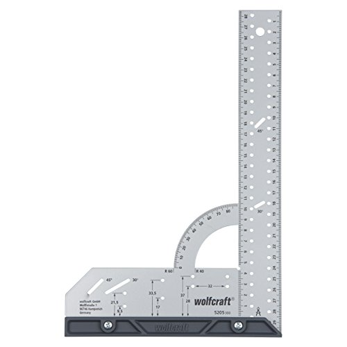 wolfcraft Universalwinkel 5205000 | Winkelmesser mit 300 mm Schenkellänge zum präzisen Anreißen und Zeichnen mit 90° Anschlagwinkel und abnehmbarer Winkelschiene