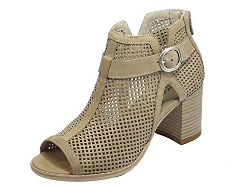 Testad av dam NeroGiardini läder svart eller champagne E010256D. Blommig raffinerad design. Kollektion vår sommar 2020, - champagne - 35 EU
