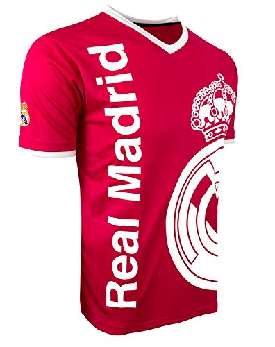 Rhinox Real Madrid Soccer Shirt (Pink Color), Licensed Real Madrid T-Shirt (X-Large)