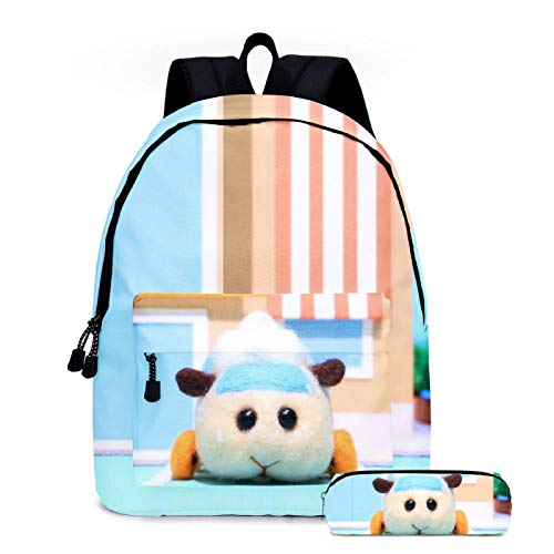 ZBK Anime Pui Pui Guinea Pig Car Theme School Bag Set,M Laptop Backpack with Pencil Case for Boys and Girls-5 Colors