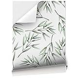 Vinilo Adhesivo para Muebles y Pared, 45 x 200 cm, Hojas de Bambú de Color Verde, Fondo Blanco, VNL-039