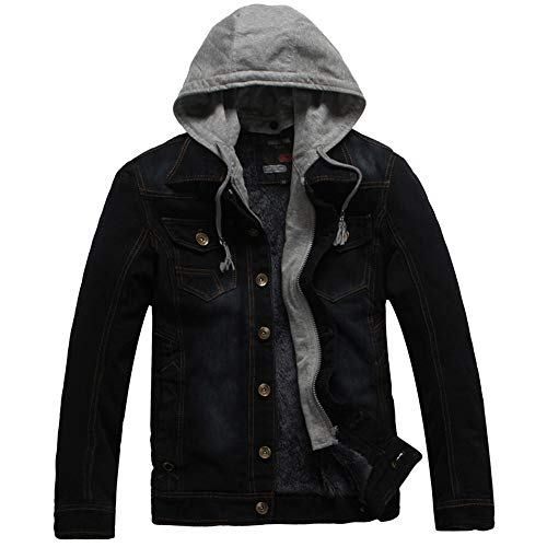Big Sale! Daoroka Mens Hoodies Denim Jacket Wind Autumn Winter Wash Distressed Thick Warm Coat Long Sleeve Zipper Pocket Coat Fashion Casual Outwear