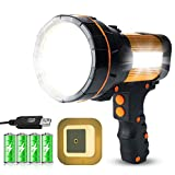 Most Powerful USB Rechargeable LED Torch Light Large 4 Batteries 6000 Lumens Super Bright Handheld Strong Spotlight Flashlight High Powered Searchlight Marine Boat Camping Lantern
