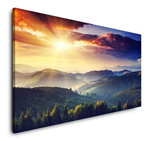 Paul Sinus Art Landschaft mit Bergen und Wolken 120x 60cm Panorama Leinwand Bild XXL Format Wandbilder Wohnzimmer Wohnung Deko Kunstdrucke