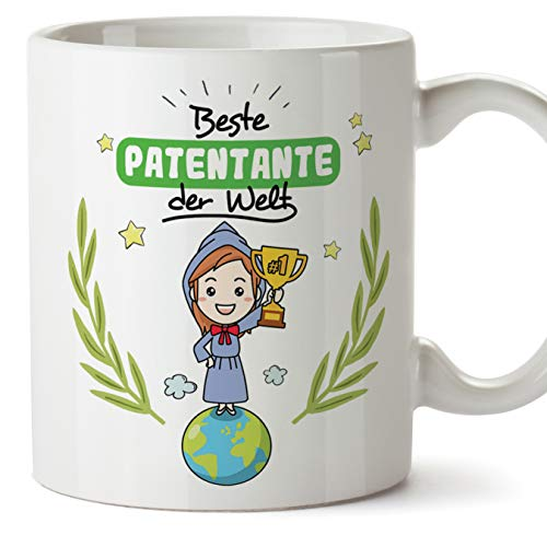Mugffins Patin Tasse/Becher/Mug - Beste Patentante der Welt - Schöne und lustige Kaffeetasse als Geschenkidee für Patentanten. Keramik 350 ml