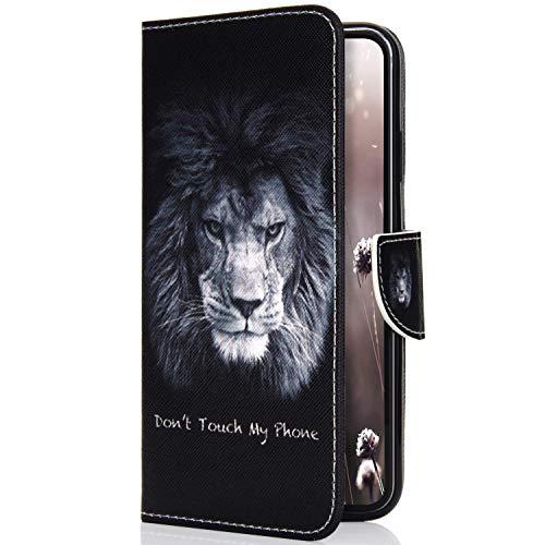 Uposao Kompatibel mit Handyhülle HTC One M8 / M8S Handytasche Bunt Retro Leder Handytasche Schutzhülle Flip Tasche Case Cover Hülle Ledertasche Lederhülle Bookstyle Klapphülle,Niedlich Löwe