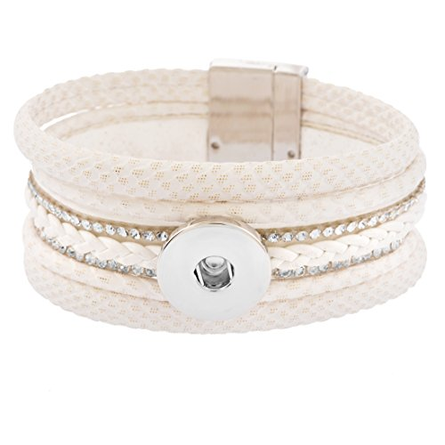 Souarts Mehrschichtig Armband Click Button Armreif für Druckknöpfe Damen Deko Armbänder Weiß