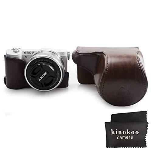 kinokoo PU Caja de la cámara de cuero con un medio caso Compatible para SONY A5000 A5100 NEX-3N y lente 16-50mm(Café)