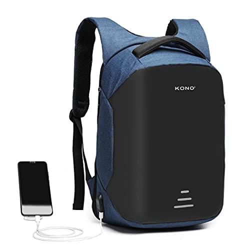 Kono Mochila de viaje para ordenador portátil, antirrobo de negocios, con puerto de carga USB, resistente al agua, mochila informal, para portátil de 15,6 pulgadas, azul marino (Azul) - E1946