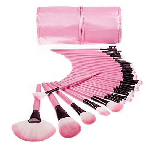 Costume cosmétique 32pcs professionnel doux cosmétique sourcils oeil fard à paupières maquillage pinceau poche sac rose (Color : Pink)