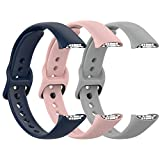 Fit for Samsung Galaxy Fit SM-R370 Bands, Adjustable Soft Silicone Replacement Watch Band Straps Wrist Bands Bracelet Fit Samsung Galaxy Fit Fitness Smartwatch for Women Men (Blue Pink Gray)