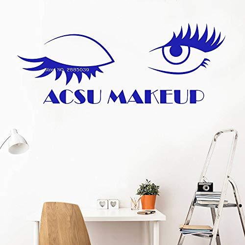 zhuziji Name Makeup Wimpern Wandaufkleber Art Studio Name Wimpern Wandaufkleber Fensteraufkleber Schönheitssalon Frau Wimpern Augenbraue Poster L162x63cm