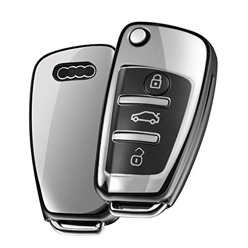 OATSBASF Autoschlüssel Hülle Geeignet für Audi,Schlüsselhülle Cover für A1 A3 A4 A6 Q3 Q5 Q7 S3 R8 TT Seat 3-Tasten Schlüsselbox (Silber)