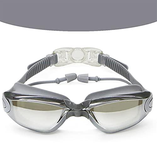 LJLCD Tubería de Agua Gafas de natación Adulto para niños Gafas de natación galvolateado Impermeable Anti-Niebla HD Gafas de baño Impermeable y antivaho, Muy Adecuado para Nadar. (Color : Grey)