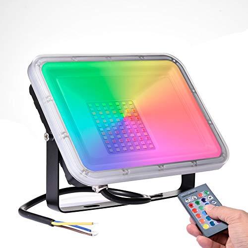 50W Faretto LED da Esterno RGB con Telecomando,16 Colori e 4 Modalità, Illuminazione del paesaggio con Funzione di Memoria 4000lm IP66 Impermeabile Proiettore LED per Giardino palcoscenico Festa