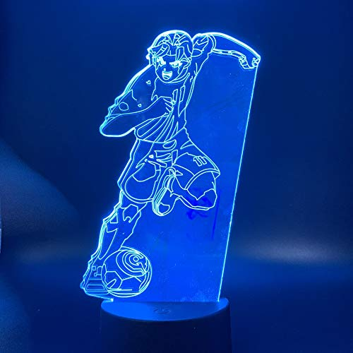 Sanzangtang Led-nachtlampje, 3D-visionzeven, kleuren-afstandsbediening, nachtlampje, kapstok, voetbalfiguur, interieur, kindernachtlampje, vleugellampje, tafellampje, nachtlampje, werkt op batterijen