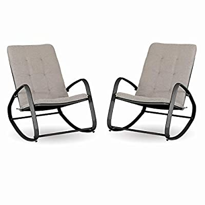MFSTUDIO Patio Metal Rocking Chairs with Breathable Cushions for Patio, Porch, Outdoor and Indoor?2PCS, Black?