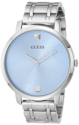 GUESS Reloj de cuarzo para mujer con correa de acero inoxidable, plateado, 12 (Modelo: GW0073L5)