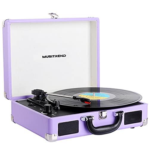 Platine Vinyle Bluetooth, Portable Tourne Disque Vinyle Livré Avec 2 Haut-parleurs Stéréo Intégrés, Support 33/45/78 RPM, Enregistrement PC, Cadeaux de Décoration à la Maison, Violette