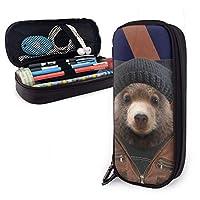 ペンケース フラグ付きファッションクマ 筆箱 財布 ファスナー付き 収納可能 多機能 持ち運びに便利 学生 男女兼用 化粧ポーチ