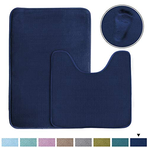 Original Memory Foam Bathroom Rug Set Contour Rug Combo (Set of 2) Soft Microfiber Non Slip Bath Mats U-Shaped Toilet Floor Mat, Non Slip Bath Rug Set (Navy, 20' x 32' Plus 20' x 20'U)