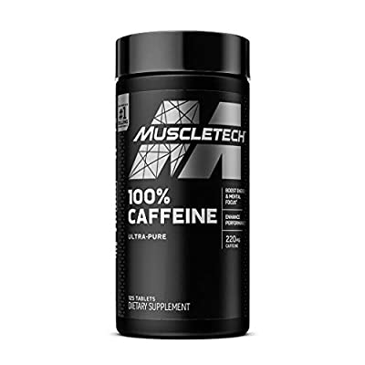 Caffeine Pills | MuscleTech 100% Caffeine Energy Supplements | PreWorkout Mental Focus + Energy Supplement | 220mg of Pure Caffeine | Sports Nutrition Endurance & Energy, 125 Count (Package may vary)
