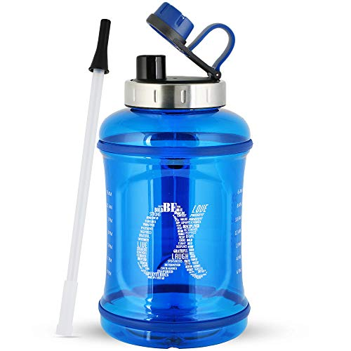AlphaX Large Sport Water Bottle Bundle with Brush, Motivational Drinking Jug with Tracking Scale and Time Marker, Stainless Steel Cap, Ergonomic Handles - Great for Outdoors, Sports, Gym 108oz / 3.2L