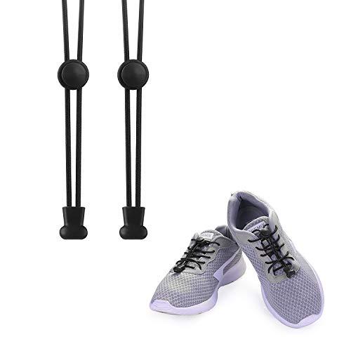 KATELUO Elastische Schnürsenkel mit Schnellverschluss Schnellschnürsystem ohne Binden für einzigartigen Komfort, perfekten Sitz und starken Halt (schwarz)