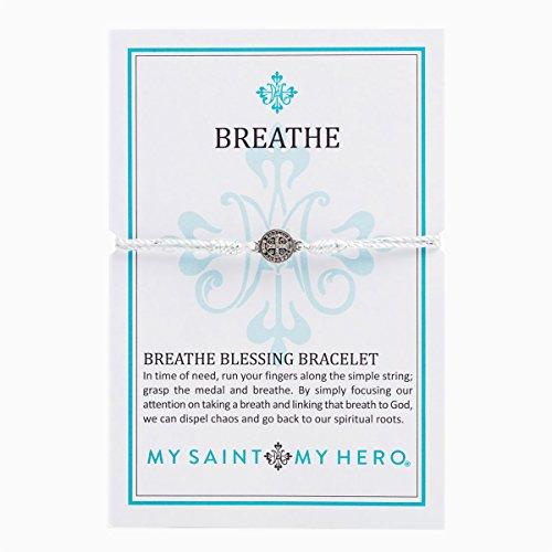 My Saint My Hero Breathe Bracelet - Silver Medal (Silver Cord)