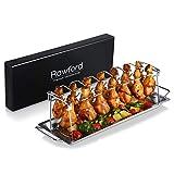 Rawford Hähnchenschenkel Halter mit Platz für 14 Keulen - Hähnchenkeulen Halter für perfekt gegrillte Chicken Wings - Zusammenlegbarer Hähnchenschenkelhalter aus Edelstahl - Leg Roaster (normal Size)