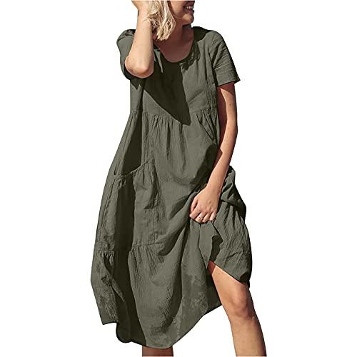 Alwayswin Sommarklänning damer klänningar sommar bomull och linne strandklänning plus klänning enfärgad vintage blusklänning casaul oversize skjortklänningar t-shirt klänning tunika klänning fritidsklänning, Grön, M