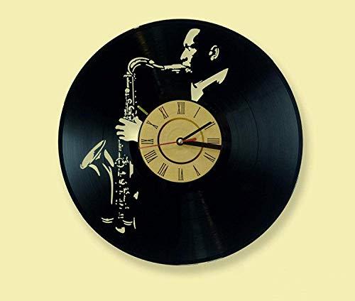 LKCAK Reloj de Pared de Vinilo saxofonista Sir John Cortland Reloj de Pared Retro Creativo