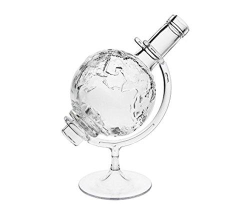 hocz Weltkugel 1 Whisky karrafe mit Korken-Verschluss Globus | 1 Stück | Füllmenge 0,5 Liter 500 ml | Glaskaraffe Welt Dekanter für Whisky-Flasche Öl, Whiskey, Schnäpse und Liköre an