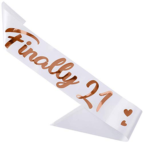 CORRURE 'Finally 21' Birthday Sash with Rose Gold Foil - Soft Satin White 21st Birthday Sash for Men and Women - Ideal Twenty One Sash Party Favors Supplies and Decorations for Your 21 Bday Party
