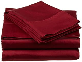Burgundy Solid, Split King Bed Sheet Set 5PCs - 1Flat Sheet, 2Fitted Sheet & 2Pillowcase - Extra Deep Pocket Fitted Sheet - 400 Thread Count Super Soft 100% Pure Cotton Wrinkle Free