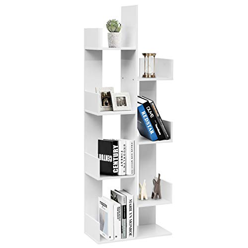 Tangkula 8-Shelf Bookshelf Freestanding Tree Bookshelf Room Dividers 57 x 20 x10 Inches Display Floor Stand Storage Shelf for Books CDs Plants Wooden Bookcase for Home Office Deco White