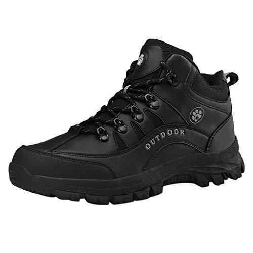 Aoogo Herren Outdoor-Laufschuhe zum Bergsteigen mit Lederspitzen für Herren Erwachsene Wanderschuhe Wanderstiefel Outdoor Sneaker Leichte rutschfeste Trekking Schuhe Camping Sportschuh