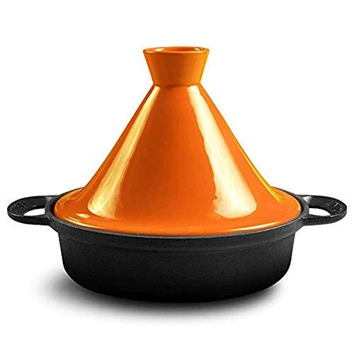 LXTIN Marokkanische Tajinepfanne 25cm100% bleifreie Sicherheit Slow Cooker Gusseisenmaterial Geeignet für großes Kochen für 3-5 Personen, Orange
