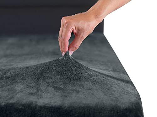 MALIKA® Premium warme Spannbettlaken Cashmere-Touch Bettlaken Jersey Fleece Spannbetttuch Laken, Farbe:Anthrazit, Größe:180-200 x 200 cm