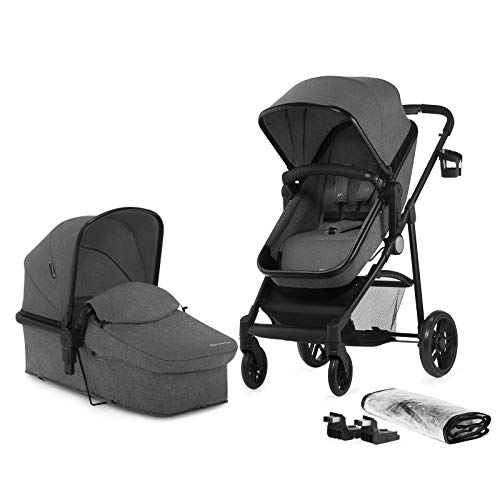 Kinderkraft Pram 2 in 1 Set Juli, Travel System, Baby Pushchair, Buggy, Foldable, Lying Position, with Carrycot, Accessories, Rain Cover, Footmuff, Cup Holder, from Birth to 3 Years, Gray