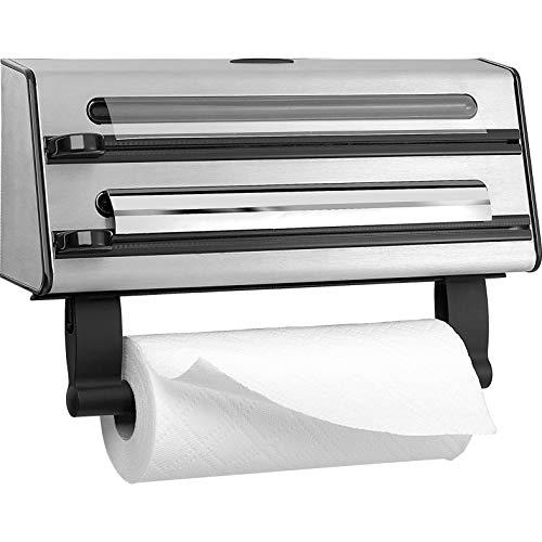 Emsa Contura Portarollos de cocina triple, corta papel de alumino, env