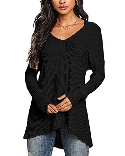 YOINS Camiseta Mujer de Manga Larga Camisa con Hombros Fríos Color Sólido Cuello en V Blusa Negro-Nuevo M