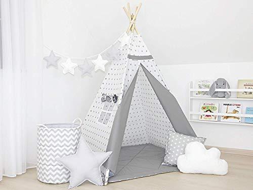 Tipi mit Stabilisator, Kinder-Tipi, Sterne auf weiß und grau Tipi, Indianerzelt, Tipi-Zelt für Kinder, Spielzelt, Tipi-Zelt,