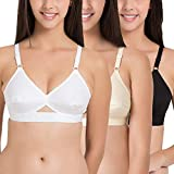 Global Business Women's Cotton Non Padded Non-Wired Bra (Pack of 3) (White-Skin-Black-36-Cup Size:B_White Skin & Black_36)