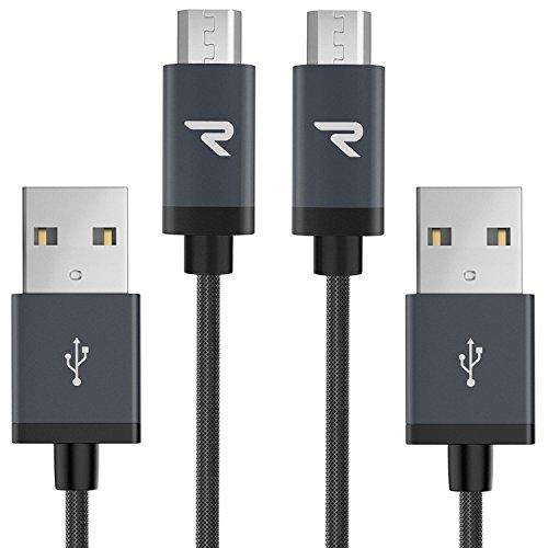 RAMPOW Cavo Micro USB [ 1M - 2Pezzi Trasferimento Dati e Ricarica Rapida, Antigroviglio Nylon, Cavo USB Micro USB Compatibile per Samsung A10/S7/S6, Huawei P8 Lite/P9 Lite, Xiaomi - Grigio siderale